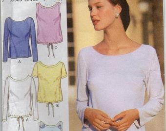 Sleeveless Top Knit Fabric Long Short Sleeves Optional Drawstring Blouse Size 8 10 12 14 16 18 Shirt Sewing Pattern Style 2982 Plus Size
