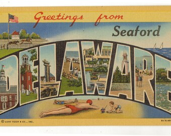 Linen Postcard, Greetings from Seaford, Delaware, Large Letter