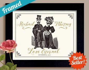 Halloween Wedding Gift Skull Heads Personalized Art Day of the Dead Tombstone Tattoo Couple Framed Art Print Goth Couple Anniversary Gift