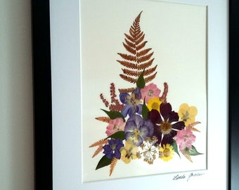 PRESSED FLOWER ART - Colorful Preserved Garden Flowers and Fern Wall Art, Matted, Frame Ready, Botanical Collage, Mom, Sister Gift