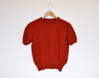 Vintage Burnt Orange Knit Handmade Short Sleeve Sweater Top