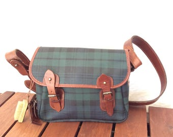 Polo Ralph Lauren Authentic Houndstooth Green Canvas and Brown Leather Trim Messenger Bag