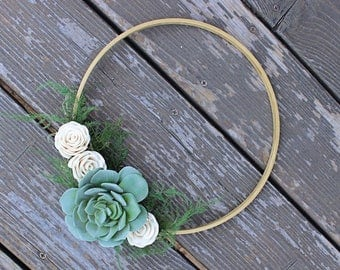 MOTHER'S DAY Artificial Succulent Sola Flower Wreath, Modern Home Decor, Gold Hoop Wreath, Faux Succulents, House Warming Gift
