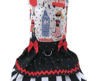 London Designer Dog Dress-Dog Dresses-Couture Dog Clothes-Dog Clothes-Dog Clothing-Dog Fashions-Dresses for Dogs-Red and Black Dog Dress