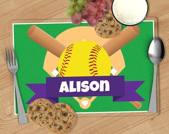 Softball - Kids Personalized Placemat, Customized Placemats for kids, Kids Placemat, Personalized Kids Gift