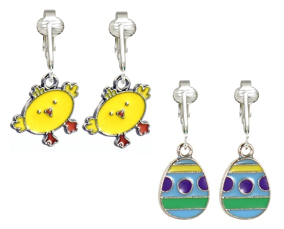 fun easter clip on earrings for girls kids colorful easter. Black Bedroom Furniture Sets. Home Design Ideas