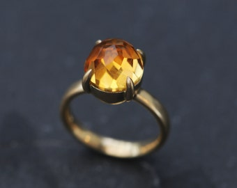 18K Gold Citrine Engagement Ring - Rose Cut Cabochon Citrine Ring - Yellow Gemstone Gold Ring - Citrine Engagement Ring