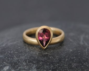 Pink Tourmaline Pear Cut Engagement Ring - 18k Gold Tourmaline Ring - Pink Gemstone Solitaire Engagement Ring - Size 5.5 FREE SHIPPING