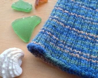 L PICC Line / IV Cover (Armband) Kelp, blue, green, brown, natural, stripe, intravenous, chemo, lyme, TPN, hand knit, cotton, elastic, soft