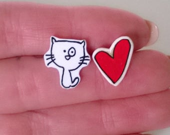 Kitty Cat and Heart Kawaii Mismatched Earrings Ooak Jewelry Studs Girl Teen Cute Red Cat Lover