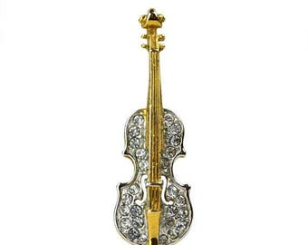 50% OFF Vintage Attwood & Sawyer Rhinestone Cello Brooch // Signed Clear Crystal, Gold tone Violin, Bass, String Musical Instrument Lapel Pi