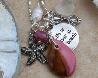 Beach Charm Necklace, Life is better at the beach jewelry, pink, czech crystal, frosted sea glass, freshwater pearl, starfish jewelry