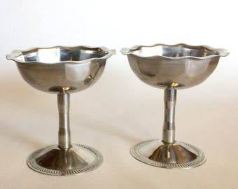 Two Vintage Stainless Steel Dessert Dishes