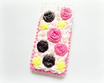 Iphone 6 Decoden Case, Kawaii Phone Case, Iphone 6 Case, Pastel Goth, Cute phone Case, Black Roses, Pink Phone Case