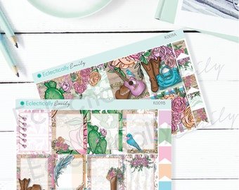 Country Glam Full Box Stickers   Planner Stickers   Country Girl Stickers for Erin Condren Life Planner   K009 AB