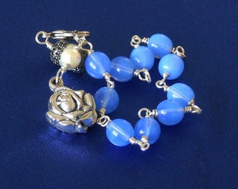 Blue Opal Locket Style Miraculous Medal Rosary Bracelet, 1 Decade Rosary, Rearview Rear View Mirror Rosary, Car/Travel Charm (RBBOR-121014)