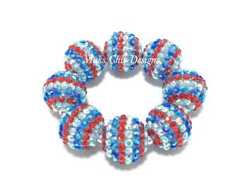 Baby, Toddler, Girls, Teen, Ladies All Bling Patriotic Sparkle Striped Chunky bracelet - Red, White and Blue Bracelet - 4th of July Jewelry