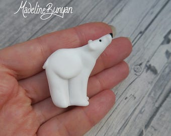 Large Polar Bear Lampwork Focal Bead, matte finish