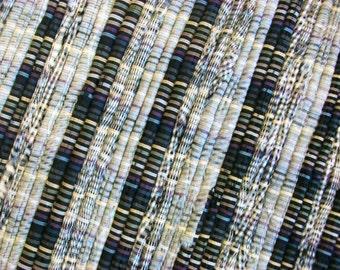 Handmade black, gray, and white tonal  loom woven rag rug  south dakota made