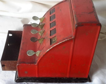 Vintage Durable Toy & Novelty metal cash register RED works antique steel toy !
