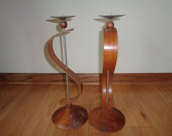 "2 Vintage MID CENTURY MOD Candlestick Candleholders in Vintage Condition which stand almost 15"" high, Very Unique and Unusual pair"