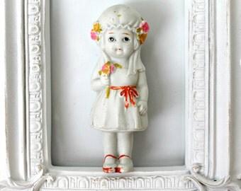 vintage bride frozen Charlotte bisque doll,  frozen Charlotte penny dolls from Japan, wedding decor, shower decor