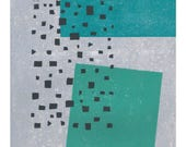 Limitied Edition - Minimalist Layered Block Print - Modern Giclee Print - Light Gray, Turquoise, Sea Green