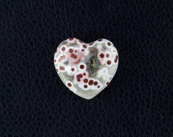 Natural Ocean Jasper Puffed Heart 23mm - 31.25 Carats - Red Orbs Unique Color!