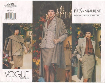 1997 - Vogue 2036 Sewing Pattern Paris Original Yves Saint Laurent Sizes 14/16/18 Jacket Skirt Shawl Suit Semi Fitted Uncut Slightly Tapered