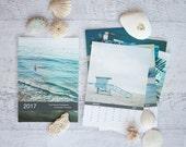 2017 Desk Calendar, 4x6 Retro Beach Calendar, 5x7 Calendar, Blue Ocean Photography, Gift Under 20, Hostess Gift, Mini Nature Calendar