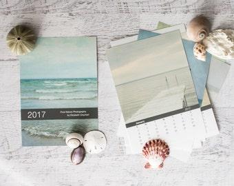 2017 Calendar, 5x7 Ocean Desk Calendar, Pastel Office Decor, 4x6 Beach Calendar, 2017 Coastal Calendar, Nature Photography Calendar