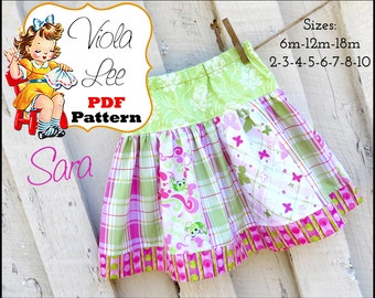 Sara, Baby Sewing Patterns, Infant Skirt Patterns, Girls Skirt Pattern, Toddler Skirt Pattern. Toddler Pattern. pdf Sewing Patterns.