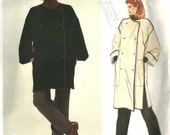 ON SALE NOW Pattern Vogue 2873 Loose fit double breasted coat front button kimono sleeves contrast binding Size Medium 12-14 Geoffrey Beene