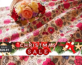Christmas SALE Floral Skirt Vintage Inspired Brown Floral Skirt Skater Midi Mid Rustic Wedding Dancing Summer Time Skirt  -Free Size Wais...