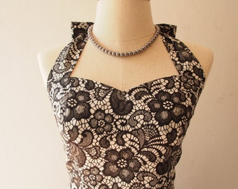 Black Summer Dress Lace Print Skater Swing Dress Vintage Inspired Little Black Dress Tea Party Prom Dress -XS-XL, Custom