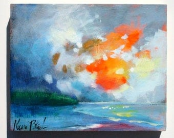 "Original Skyscape, Cloud Painting over Water, Ocean Sunset Small Modern Impressionist Landscape ""Sunset in the West"" 8x10"