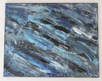 Abstract Blue, Black & White Palette Knife Painting