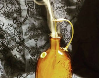 1960's Amber Lestoil Bottle Incense Burner with Brass and Copper Fittings