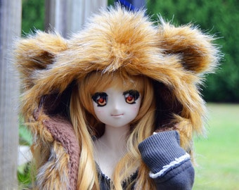 MADE TO ORDER, Fluffy Bear Hood For Bjds/Dollfie Dream/Smart Doll