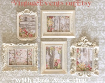 Shabby Chic PICTURE FRAME Nursery WEDDiNG home Vintage Style custom color Photo Prop Frame Set with Glass Easel Back white cream