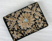 Moving Sale...30% Off Vintage 1980s Wallet 80s Black Velvet Beaded Wallet with Goldwork Embroidery and Semi Precious Stones India