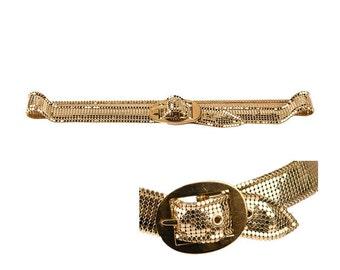 Whiting & Davis Gold Mesh Belt, Schaffer Belts Inc.. Oval Buckle, Vintage 1980s