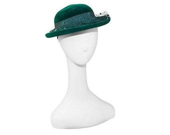 Green Wool Hat, 1950s Breton with Netting, Hat Size 21