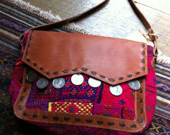 Vintage Tribal Textile/Leather Shoulder Bag