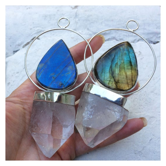 LABRADORITE & QUARTZ NECKLACE - Sterling Silver Necklace - Statement Necklace- Labradorite- Quartz Necklace - Chakra Jewellery - Bohemian
