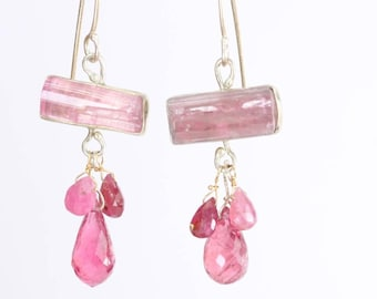 Raw Pink Tourmaline Crystal Earrings with Pink Sapphire & Pink Tourmaline Briolettes