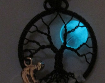 Tree of Life, Aquamarine Night Glowing Moon Tree of Life,  Rainbow Moonstone in the Roots for the Skier Charm, Glowing Jewelry
