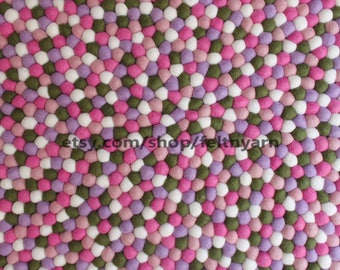 120 cm round felt ball rug, pinkish felt rug, nursery room rug, kid's room felt ball rug, handmade felt ball rug, pom pom felt ball rug