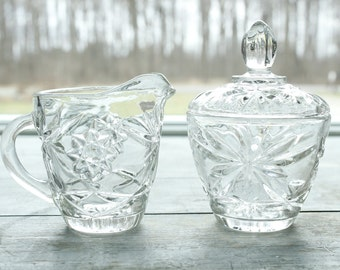 Vintage Classic Cream and Sugar Set Pressed Clear Glass Stars Cameo Pattern