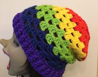 Granny Stitch Slouch Beanie- Rainbow